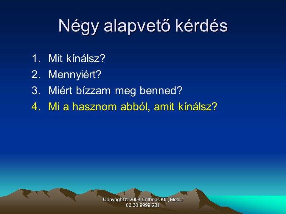 Copyright © 2008 Entheos Kft., Mobil: 06-30-9999-231 Négy alapvető kérdés 1.Mit kínálsz.