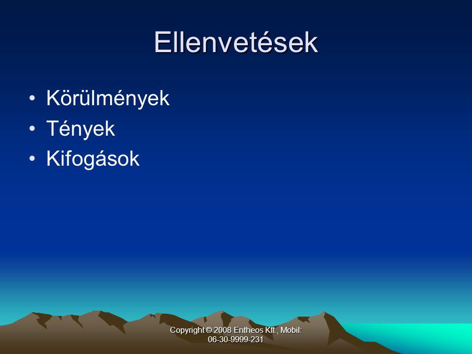 Copyright © 2008 Entheos Kft., Mobil: 06-30-9999-231 Ellenvetések •Körülmények •Tények •Kifogások