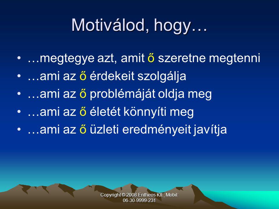 Copyright © 2008 Entheos Kft., Mobil: 06-30-9999-231 Az értékesítő hidat épít Gondolkodom, hogy cselekedni kéne… Tényleges cselekvés