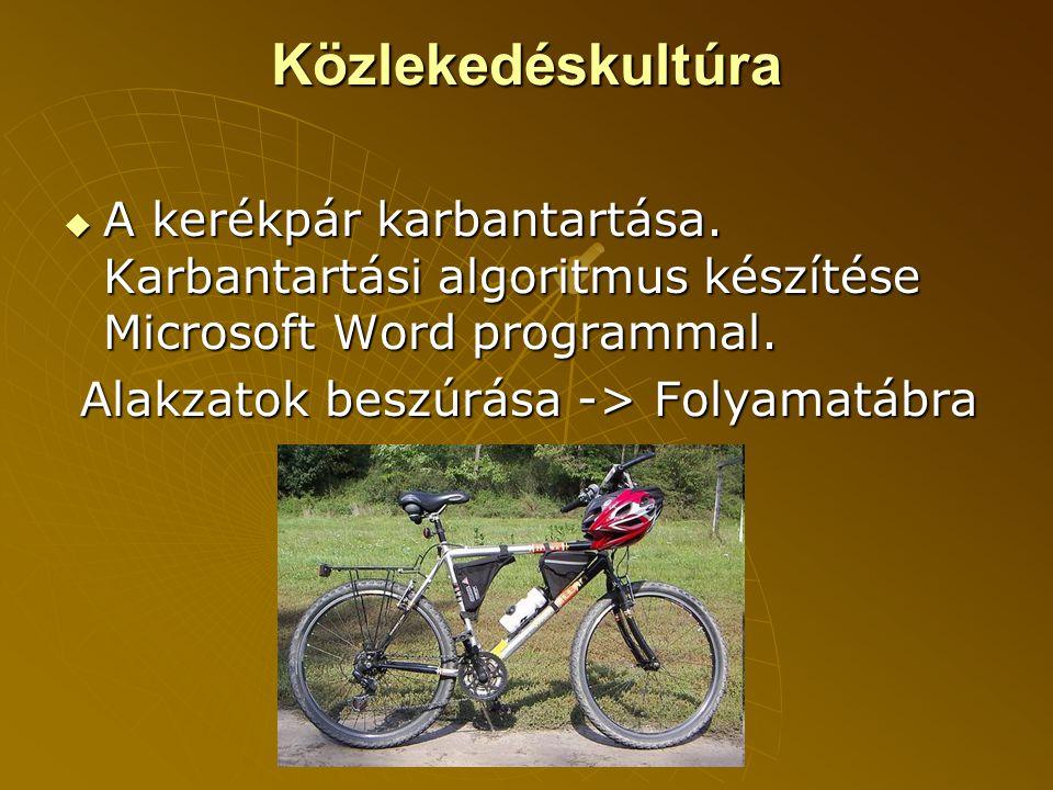 Közlekedéskultúra  A kerékpár karbantartása.