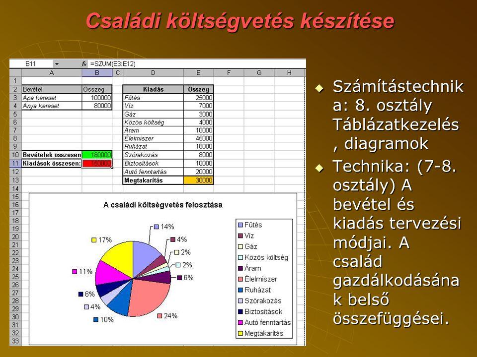 Családi költségvetés készítése  Számítástechnik a: 8.