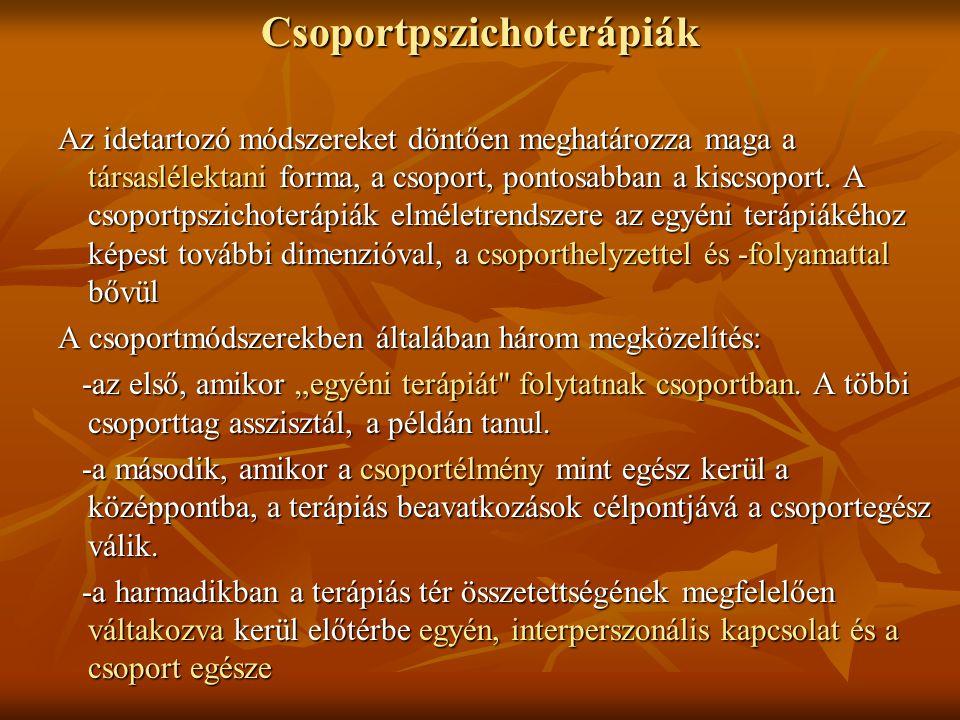 Csoportpszichoterápiák Az idetartozó módszereket döntően meghatározza maga a társaslélektani forma, a csoport, pontosabban a kiscsoport. A csoportpszi