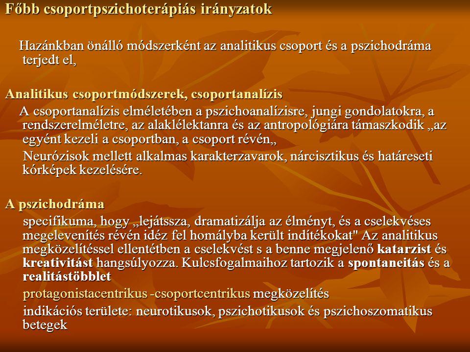 Főbb csoportpszichoterápiás irányzatok Hazánkban önálló módszerként az analitikus csoport és a pszichodráma terjedt el, Hazánkban önálló módszerként a