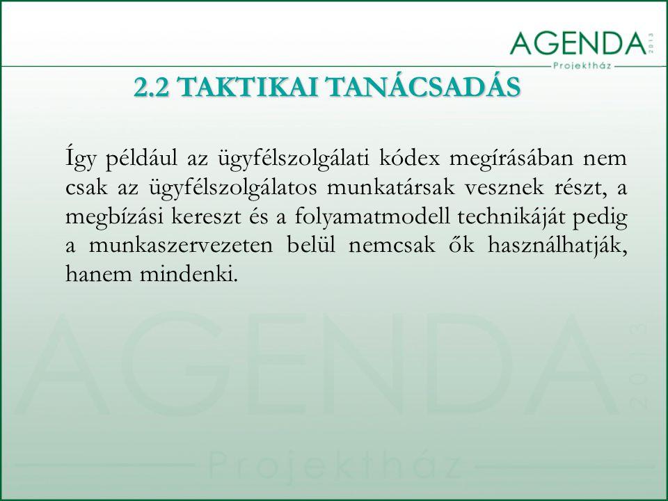 Így például az ügyfélszolgálati kódex megírásában nem csak az ügyfélszolgálatos munkatársak vesznek részt, a megbízási kereszt és a folyamatmodell tec
