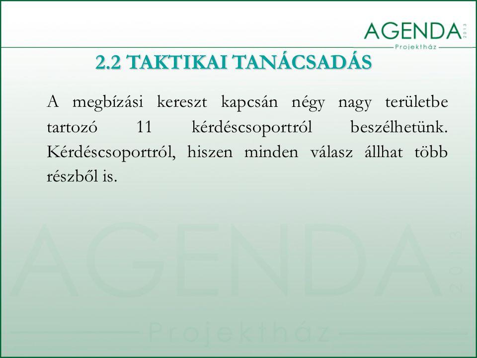 A megbízási kereszt kapcsán négy nagy területbe tartozó 11 kérdéscsoportról beszélhetünk. Kérdéscsoportról, hiszen minden válasz állhat több részből i