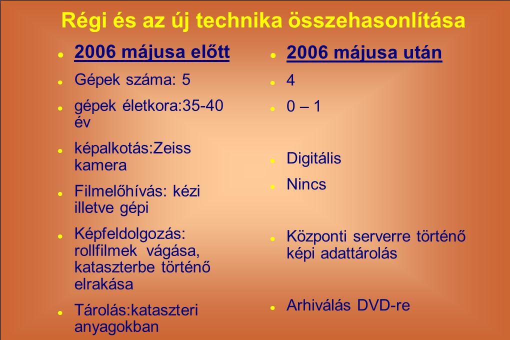 Régi és az új technika összehasonlítása  2006 májusa előtt  Gépek száma: 5  gépek életkora:35-40 év  képalkotás:Zeiss kamera  Filmelőhívás: kézi