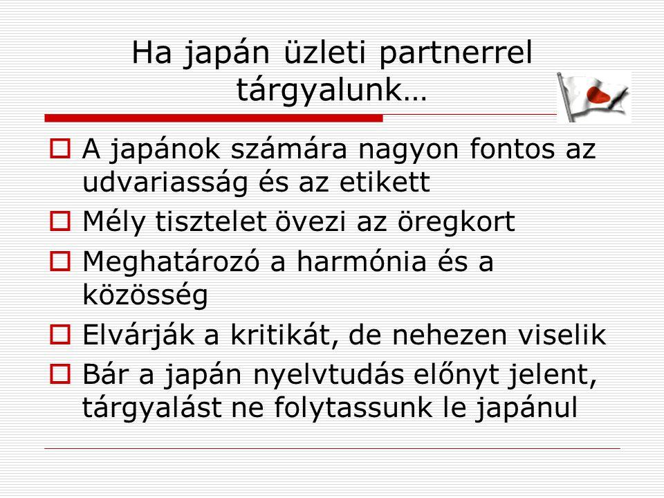 Ha japán üzleti partnerrel tárgyalunk…  A japánok számára nagyon fontos az udvariasság és az etikett  Mély tisztelet övezi az öregkort  Meghatározó a harmónia és a közösség  Elvárják a kritikát, de nehezen viselik  Bár a japán nyelvtudás előnyt jelent, tárgyalást ne folytassunk le japánul