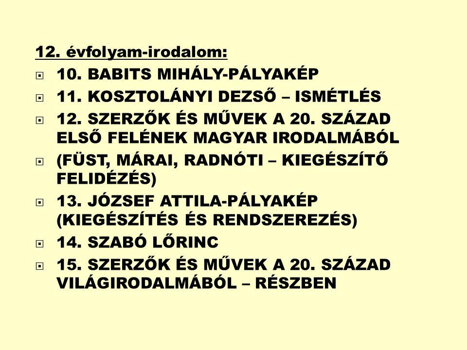 12.évfolyam-irodalom:  10. BABITS MIHÁLY-PÁLYAKÉP  11.