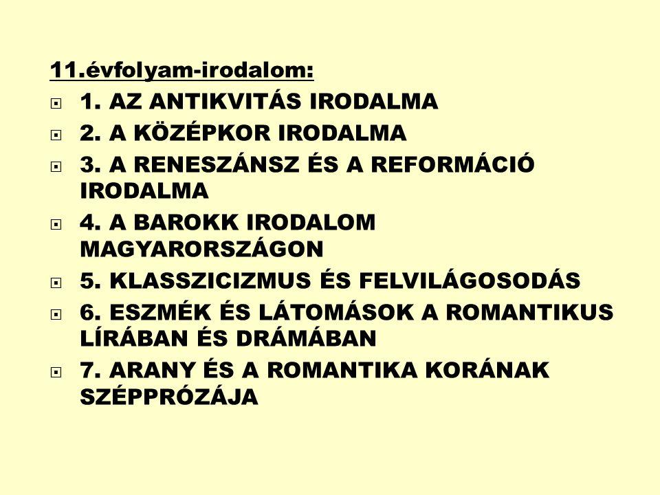 11.évfolyam-irodalom:  1.AZ ANTIKVITÁS IRODALMA  2.