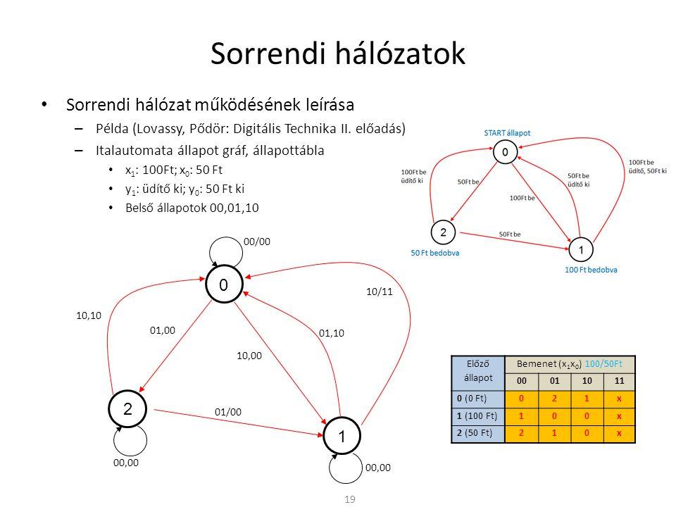 Sorrendi hálózatok • Sorrendi hálózat működésének leírása – Példa (Lovassy, Pődör: Digitális Technika II.
