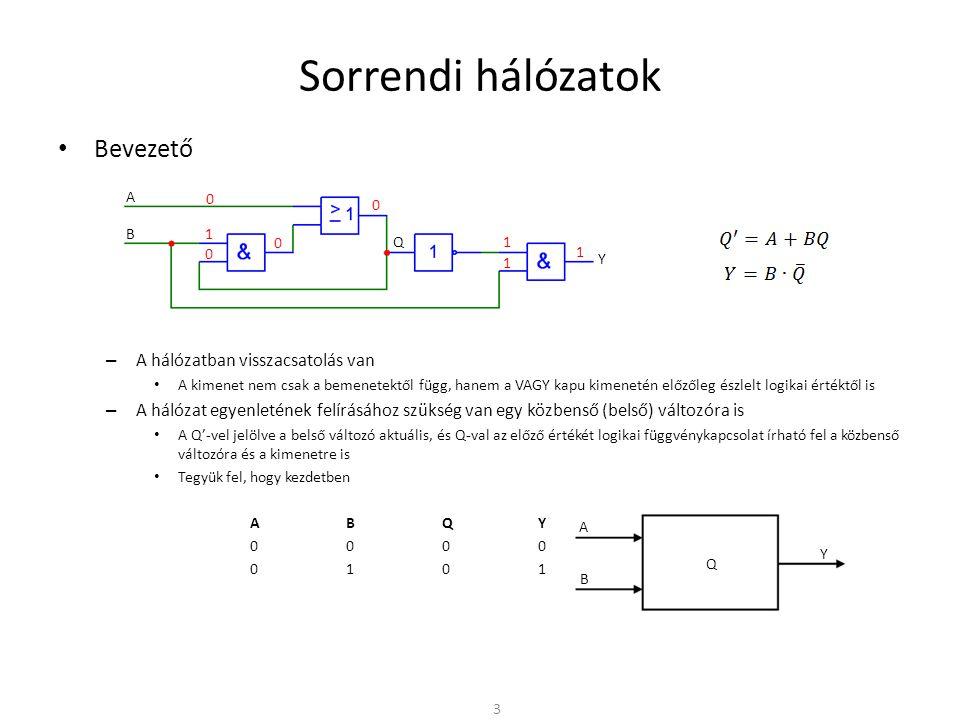 Sorrendi hálózatok • Bevezető – A hálózatban visszacsatolás van • A kimenet nem csak a bemenetektől függ, hanem a VAGY kapu kimenetén előzőleg észlelt logikai értéktől is – A hálózat egyenletének felírásához szükség van egy közbenső (belső) változóra is • A Q'-vel jelölve a belső változó aktuális, és Q-val az előző értékét logikai függvénykapcsolat írható fel a közbenső változóra és a kimenetre is • Tegyük fel, hogy kezdetben ABQY 0000 0101 1110 4 A B Q Y 1 0 1 0 0 1 1 1 1 1 1 0 0 A B Y Q