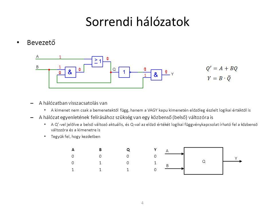 Sorrendi hálózatok • Sorrendi hálózat működésének leírása – Állapot gráf • Grafikus szemléltetés • A sorrendi hálózat belső állapotait a gráf csomópontjai szemléltetik • A csomópontokat összekötő irányított élek (nyilak) az egyik állapotból a másikba történő átmenetet reprezentálják – Ha nem teljesül semmilyen továbblépési feltétel, marad az előző állapotban – Több feltétel is kielégítheti a továbblépés feltételét – Egy állapotból visszafelé, egy előző állapotba is lehetséges állapotátmenet – Az éleken az átmenetet előidéző bemeneti x kombináció szerepel – Emellett az y kimeneti értékeket is gyakran fel szokás tüntetni 15 qiqi qjqj Egyik továbblépési feltétel sem teljesül X i2 /y i2 qkqk qmqm X j1 /y j1 X m1 /y m1 Teljesül valamely továbblépési feltétel X i1 /y i1 X j2 /y j2 X m2 /y m2 X k2 /y k2 X k1 /y k1