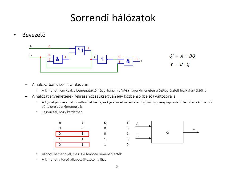 Sorrendi hálózatok • Bevezető – A hálózatban visszacsatolás van • A kimenet nem csak a bemenetektől függ, hanem a VAGY kapu kimenetén előzőleg észlelt logikai értéktől is – A hálózat egyenletének felírásához szükség van egy közbenső (belső) változóra is • A Q'-vel jelölve a belső változó aktuális, és Q-val az előző értékét logikai függvénykapcsolat írható fel a közbenső változóra és a kimenetre is • Tegyük fel, hogy kezdetben ABQY 0000 0101 1110 0110 • Azonos bemenő jel, mégis különböző kimeneti érték • A kimenet a belső állapotváltozótól is függ 5 A B Q Y 1 1 0 1 1 0 1 0 A B Y Q