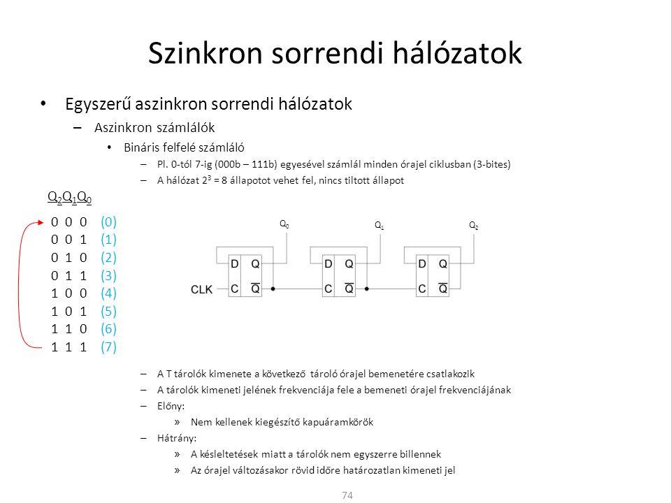 Szinkron sorrendi hálózatok • Egyszerű aszinkron sorrendi hálózatok – Aszinkron számlálók • Bináris felfelé számláló – Pl.