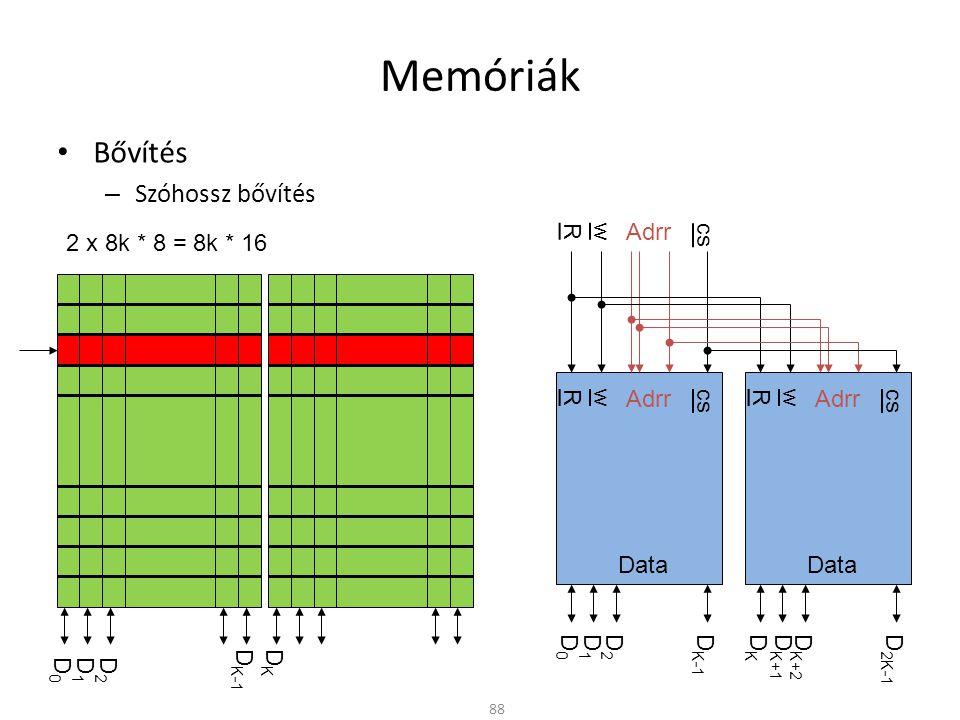 Memóriák • Bővítés – Szóhossz bővítés 88 D0D0 D1D1 D2D2 D K-1 DKDK cs wR Data Adrr cs wR Data Adrr D0D0 D1D1 D2D2 D K-1 DKDK D K+1 D K+2 D 2K-1 cs wR Adrr 2 x 8k * 8 = 8k * 16