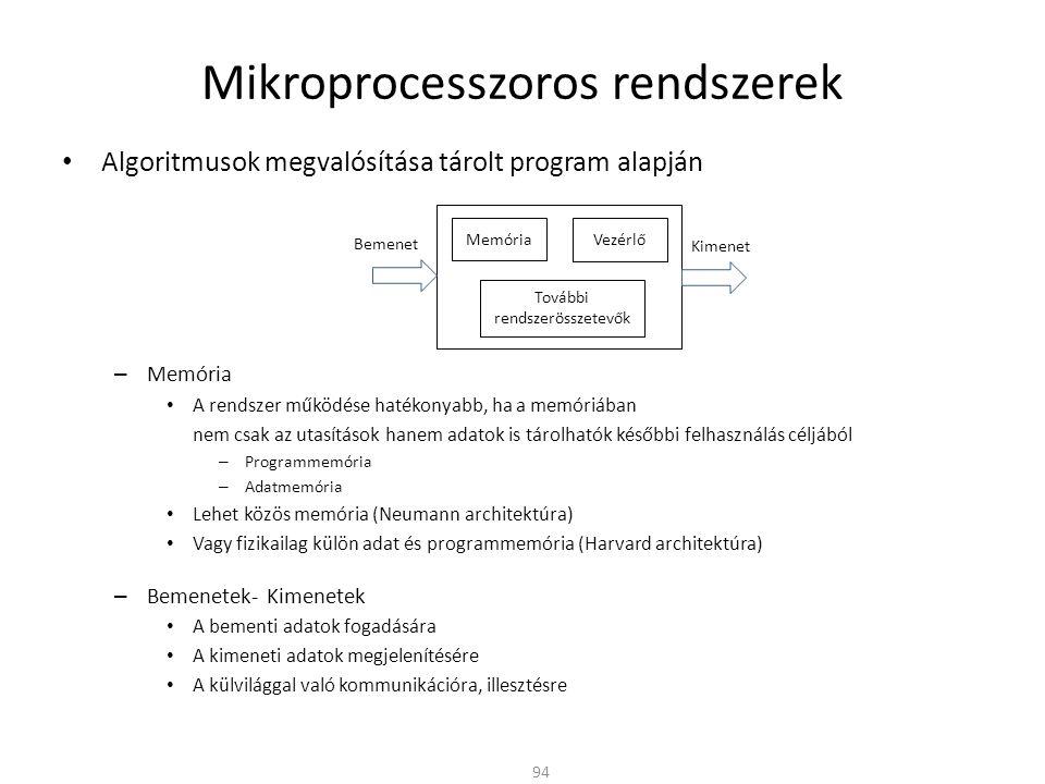 Mikroprocesszoros rendszerek • Algoritmusok megvalósítása tárolt program alapján – Memória • A rendszer működése hatékonyabb, ha a memóriában nem csak az utasítások hanem adatok is tárolhatók későbbi felhasználás céljából – Programmemória – Adatmemória • Lehet közös memória (Neumann architektúra) • Vagy fizikailag külön adat és programmemória (Harvard architektúra) – Bemenetek- Kimenetek • A bementi adatok fogadására • A kimeneti adatok megjelenítésére • A külvilággal való kommunikációra, illesztésre Bemenet Kimenet Memória Vezérlő További rendszerösszetevők 94