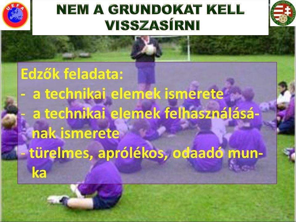 Edzők feladata: - a technikai elemek ismerete - a technikai elemek felhasználásá- nak ismerete - türelmes, aprólékos, odaadó mun- ka