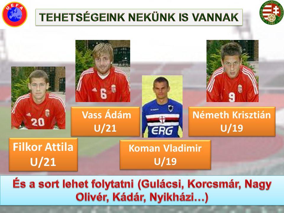 Filkor Attila U/21 Vass Ádám U/21 Koman Vladimir U/19 Németh Krisztián U/19