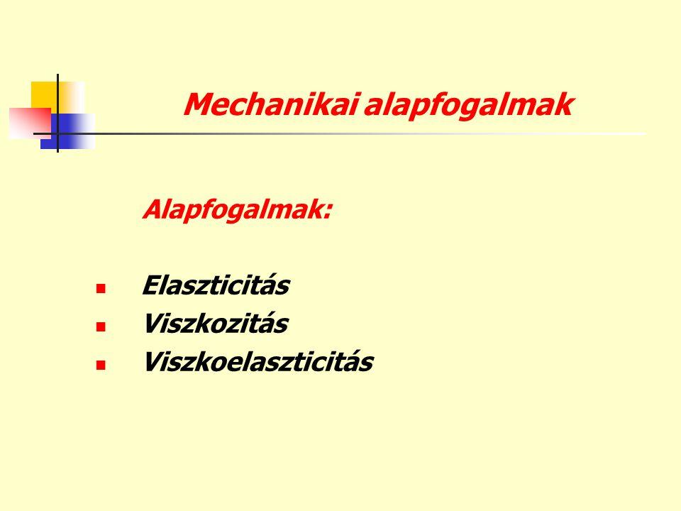 Mechanikai alapfogalmak Alapfogalmak:  Elaszticitás  Viszkozitás  Viszkoelaszticitás