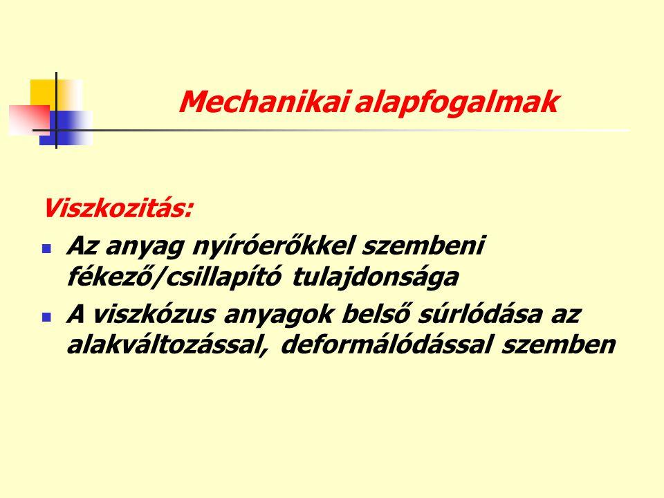 Mechanikai alapfogalmak Viszkozitás:  Az anyag nyíróerőkkel szembeni fékező/csillapító tulajdonsága  A viszkózus anyagok belső súrlódása az alakvált