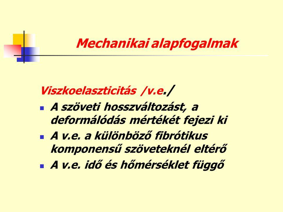 Mechanikai alapfogalmak Viszkoelaszticitás /v.e./  A szöveti hosszváltozást, a deformálódás mértékét fejezi ki  A v.e. a különböző fibrótikus kompon