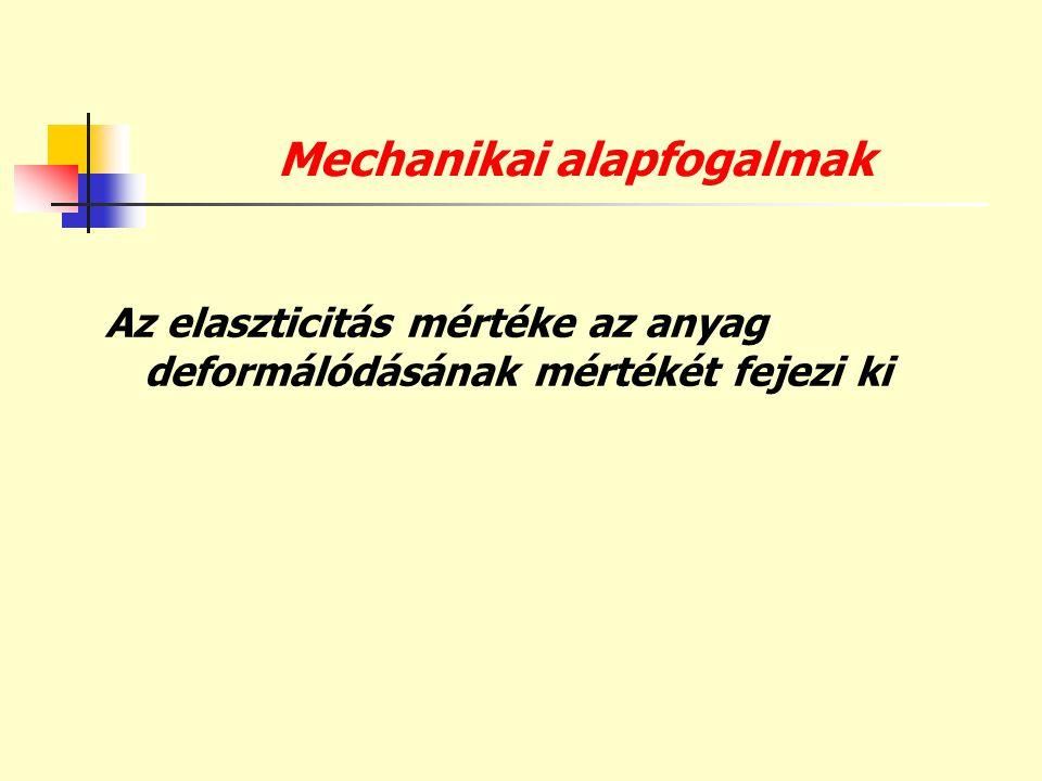 Mechanikai alapfogalmak Az elaszticitás mértéke az anyag deformálódásának mértékét fejezi ki