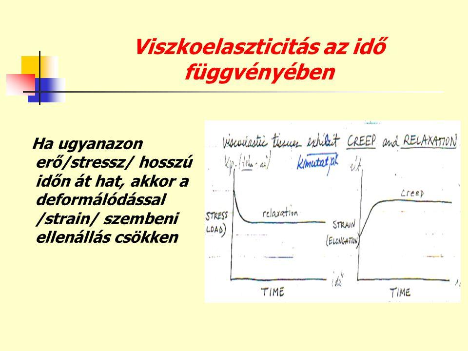Viszkoelaszticitás az idő függvényében Ha ugyanazon erő/stressz/ hosszú időn át hat, akkor a deformálódással /strain/ szembeni ellenállás csökken