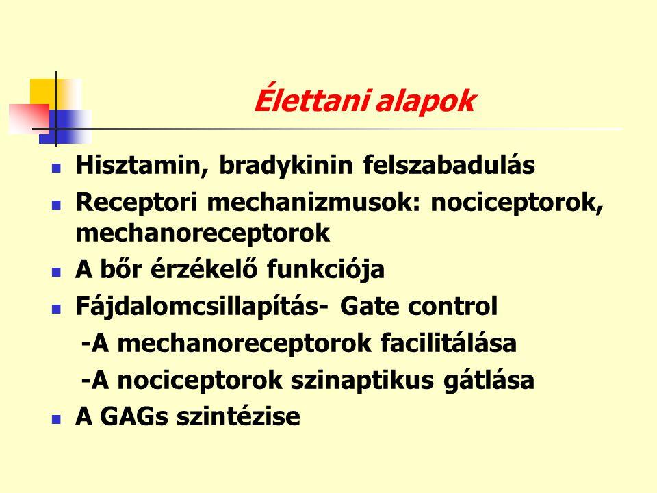 Élettani alapok  Hisztamin, bradykinin felszabadulás  Receptori mechanizmusok: nociceptorok, mechanoreceptorok  A bőr érzékelő funkciója  Fájdalom