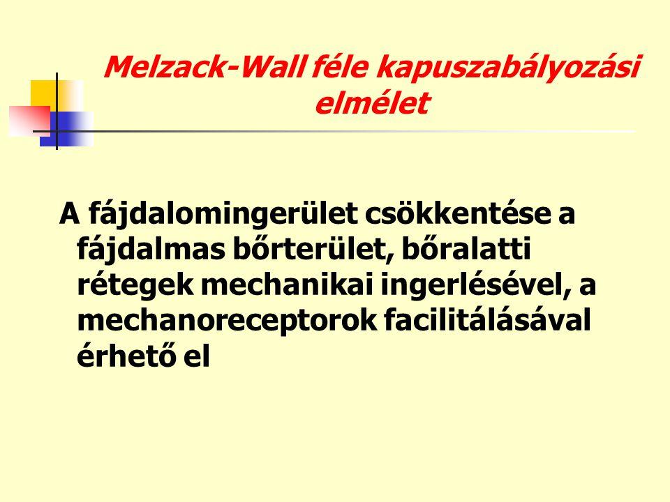 Melzack-Wall féle kapuszabályozási elmélet A fájdalomingerület csökkentése a fájdalmas bőrterület, bőralatti rétegek mechanikai ingerlésével, a mechan