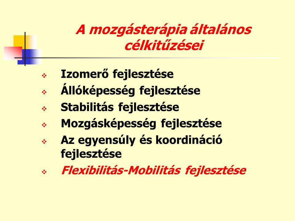 A mozgásterápia általános célkitűzései  Izomerő fejlesztése  Állóképesség fejlesztése  Stabilitás fejlesztése  Mozgásképesség fejlesztése  Az egy