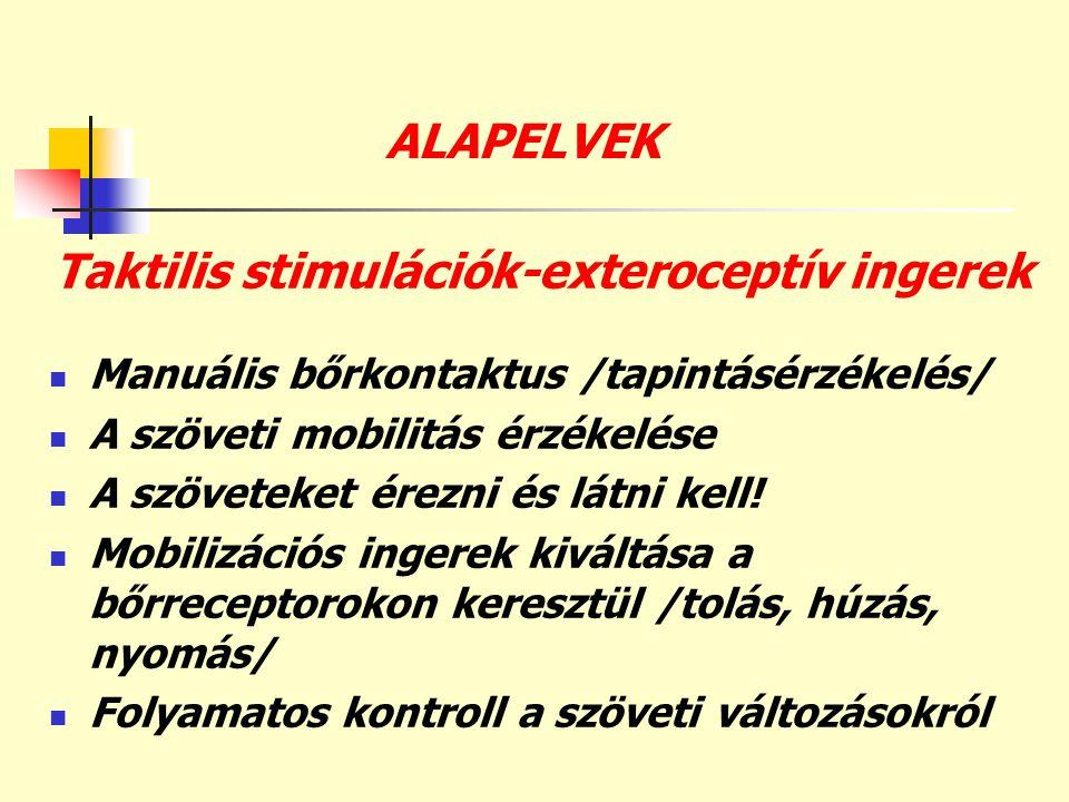 ALAPELVEK Taktilis stimulációk-exteroceptív ingerek  Manuális bőrkontaktus /tapintásérzékelés/  A szöveti mobilitás érzékelése  A szöveteket érezni