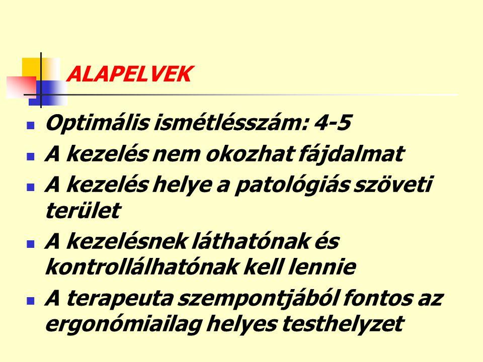 ALAPELVEK  Optimális ismétlésszám: 4-5  A kezelés nem okozhat fájdalmat  A kezelés helye a patológiás szöveti terület  A kezelésnek láthatónak és