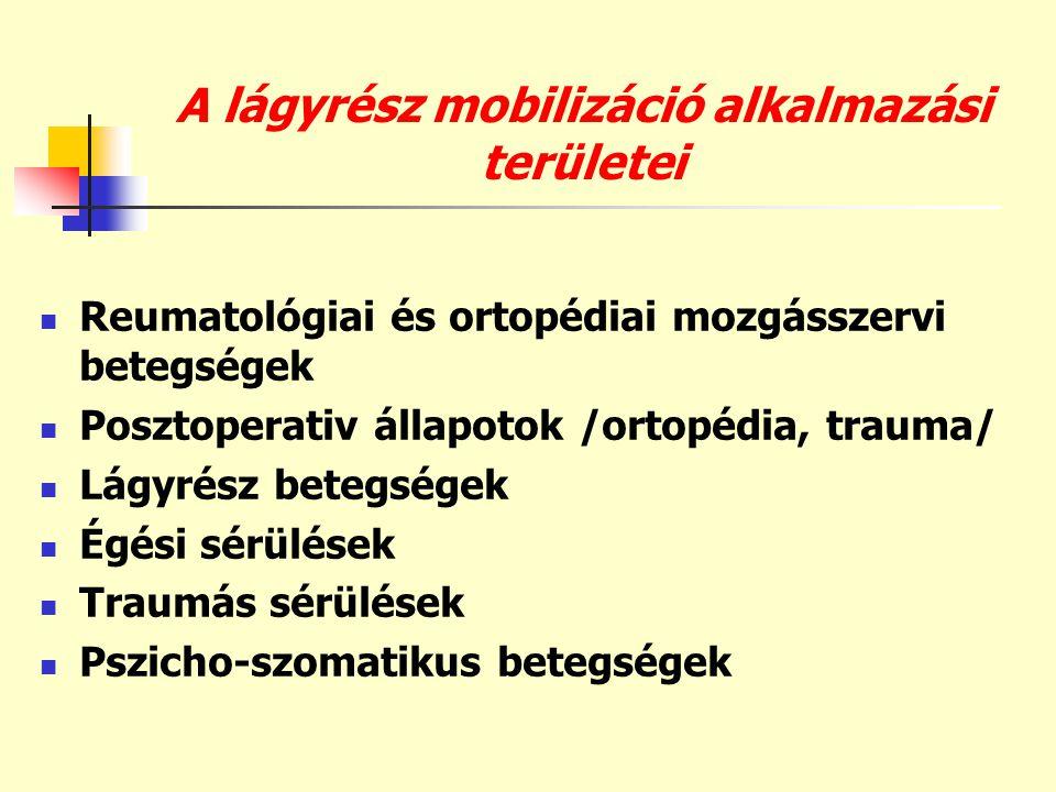 A lágyrész mobilizáció alkalmazási területei  Reumatológiai és ortopédiai mozgásszervi betegségek  Posztoperativ állapotok /ortopédia, trauma/  Lág