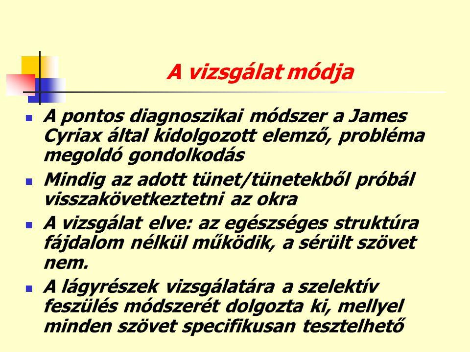 A vizsgálat módja  A pontos diagnoszikai módszer a James Cyriax által kidolgozott elemző, probléma megoldó gondolkodás  Mindig az adott tünet/tünete