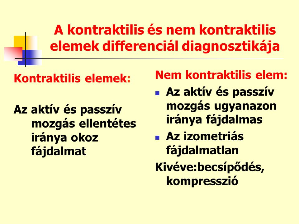 A kontraktilis és nem kontraktilis elemek differenciál diagnosztikája Kontraktilis elemek: Az aktív és passzív mozgás ellentétes iránya okoz fájdalmat