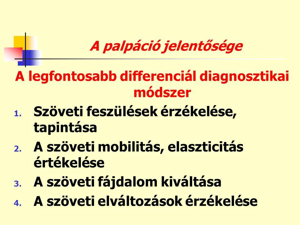 A palpáció jelentősége A legfontosabb differenciál diagnosztikai módszer 1. Szöveti feszülések érzékelése, tapintása 2. A szöveti mobilitás, elasztici