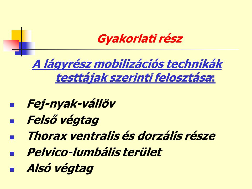 Gyakorlati rész A lágyrész mobilizációs technikák testtájak szerinti felosztása:  Fej-nyak-vállöv  Felső végtag  Thorax ventralis és dorzális része