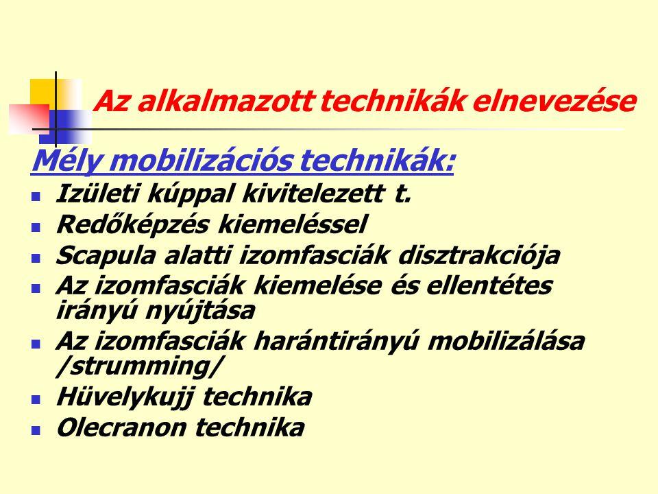 Az alkalmazott technikák elnevezése Mély mobilizációs technikák:  Izületi kúppal kivitelezett t.  Redőképzés kiemeléssel  Scapula alatti izomfasciá