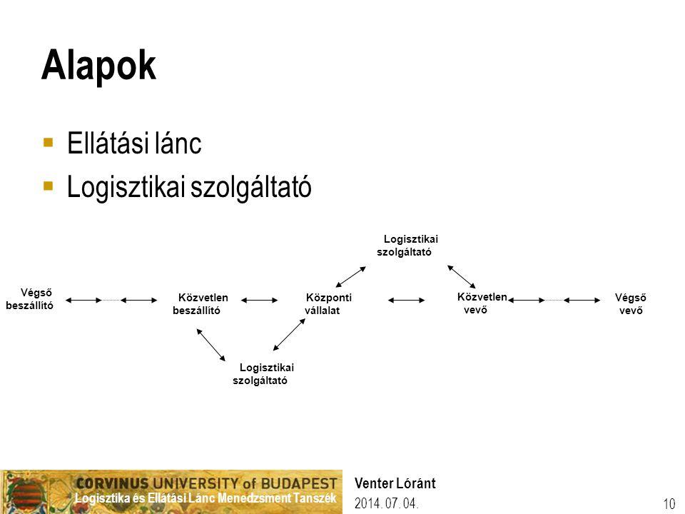 Logisztika és Ellátási Lánc Menedzsment Tanszék Alapok  Ellátási lánc  Logisztikai szolgáltató Közvetlen beszállító Központi vállalat Közvetlen vevő Végső beszállító Logisztikai szolgáltató Végső vevő 2014.
