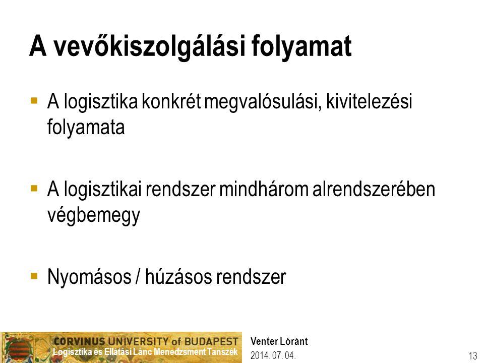 Logisztika és Ellátási Lánc Menedzsment Tanszék 2014. 07. 04. Venter Lóránt 13 A vevőkiszolgálási folyamat  A logisztika konkrét megvalósulási, kivit