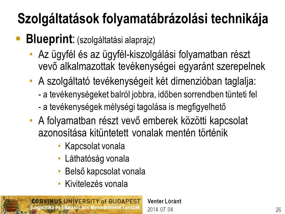 Logisztika és Ellátási Lánc Menedzsment Tanszék 26 Szolgáltatások folyamatábrázolási technikája  Blueprint : (szolgáltatási alaprajz) •Az ügyfél és az ügyfél-kiszolgálási folyamatban részt vevő alkalmazottak tevékenységei egyaránt szerepelnek •A szolgáltató tevékenységeit két dimenzióban taglalja: - a tevékenységeket balról jobbra, időben sorrendben tünteti fel - a tevékenységek mélységi tagolása is megfigyelhető •A folyamatban részt vevő emberek közötti kapcsolat azonosítása kitüntetett vonalak mentén történik •Kapcsolat vonala •Láthatóság vonala •Belső kapcsolat vonala •Kivitelezés vonala 2014.
