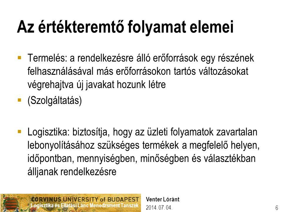 Logisztika és Ellátási Lánc Menedzsment Tanszék 2014. 07. 04. Venter Lóránt 6 Az értékteremtő folyamat elemei  Termelés: a rendelkezésre álló erőforr