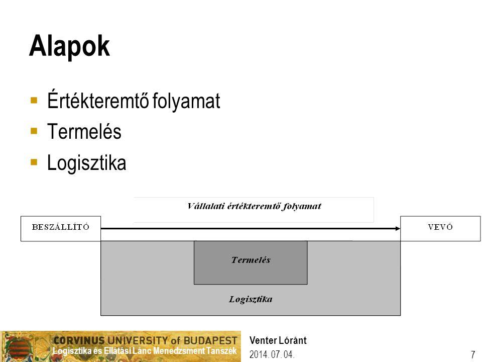 Logisztika és Ellátási Lánc Menedzsment Tanszék Alapok  Értékteremtő folyamat  Termelés  Logisztika 2014. 07. 04. 7 Venter Lóránt