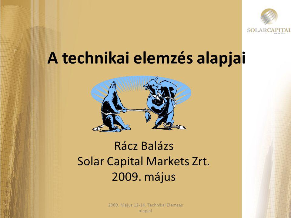 A technikai elemzés alapjai Rácz Balázs Solar Capital Markets Zrt. 2009. május 2009. Május 12-14. Technikai Elemzés alapjai
