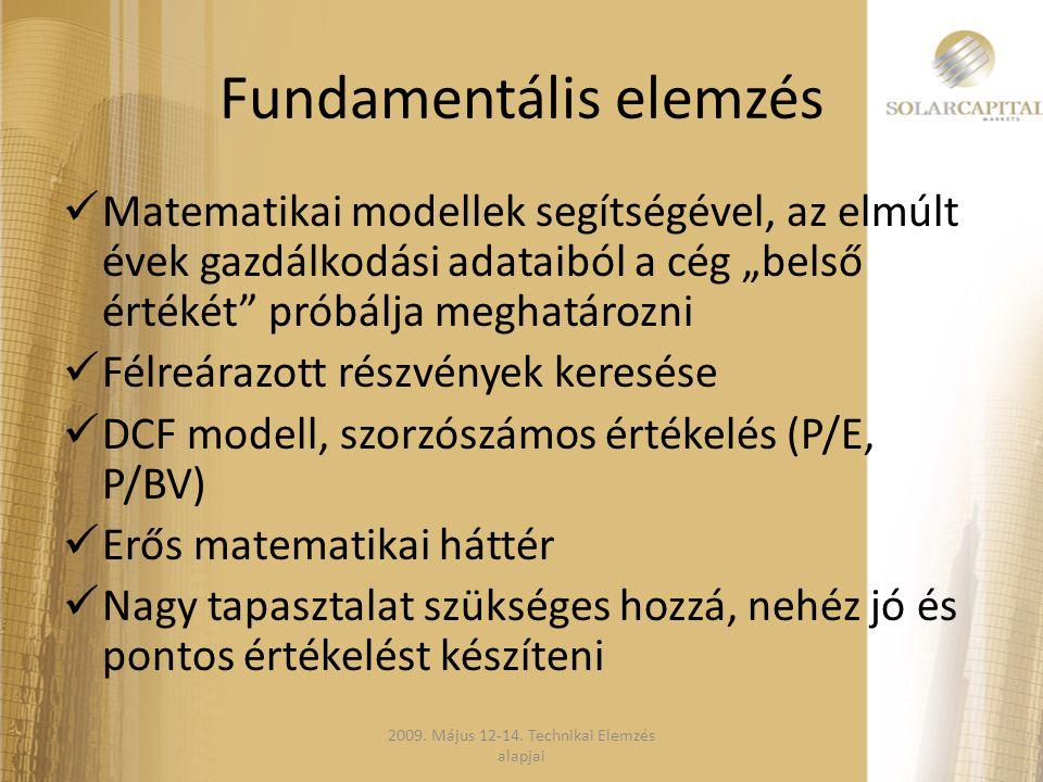 GAP  GAP magyarul annyit jelent rés  A formáció könnyen észrevehető, üres helyet jelent, ahol nem történt üzletkötés  Definíció emelkedő trendben az előző nap maximuma fölött marad a napi minimum  Csökkenő trend esetén a fordítottja érvényes  A keletkezett rést a piac előbb utóbb betölti 2009.