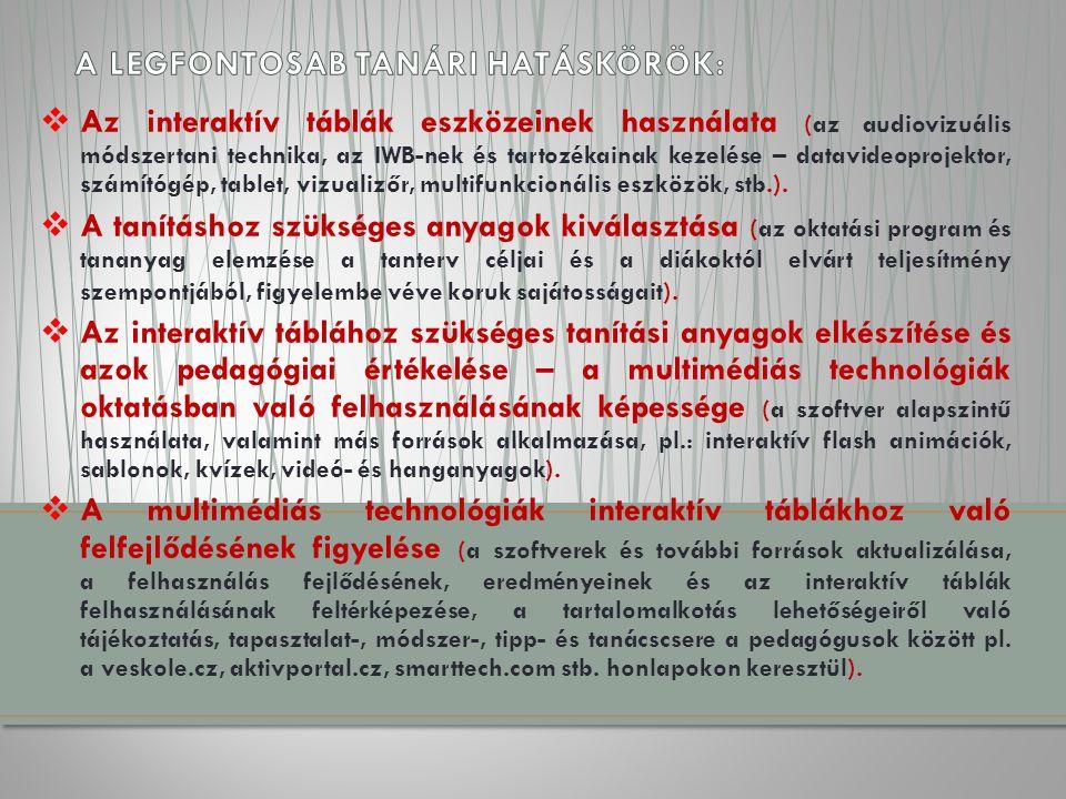  Az interaktív táblák eszközeinek használata (az audiovizuális módszertani technika, az IWB-nek és tartozékainak kezelése – datavideoprojektor, számítógép, tablet, vizualizőr, multifunkcionális eszközök, stb.).