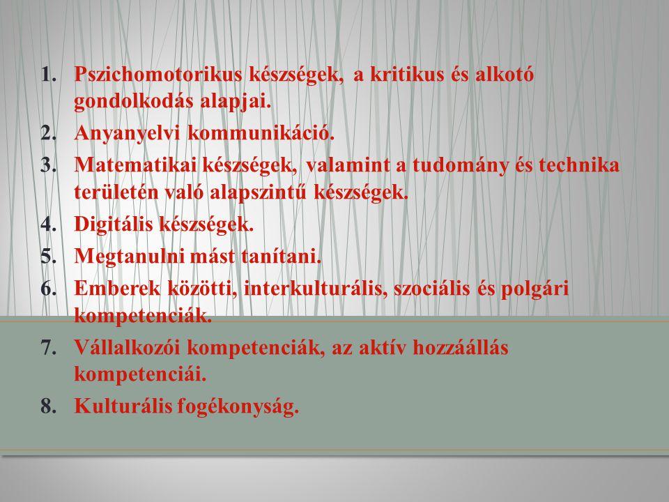 1.Pszichomotorikus készségek, a kritikus és alkotó gondolkodás alapjai. 2.Anyanyelvi kommunikáció. 3.Matematikai készségek, valamint a tudomány és tec