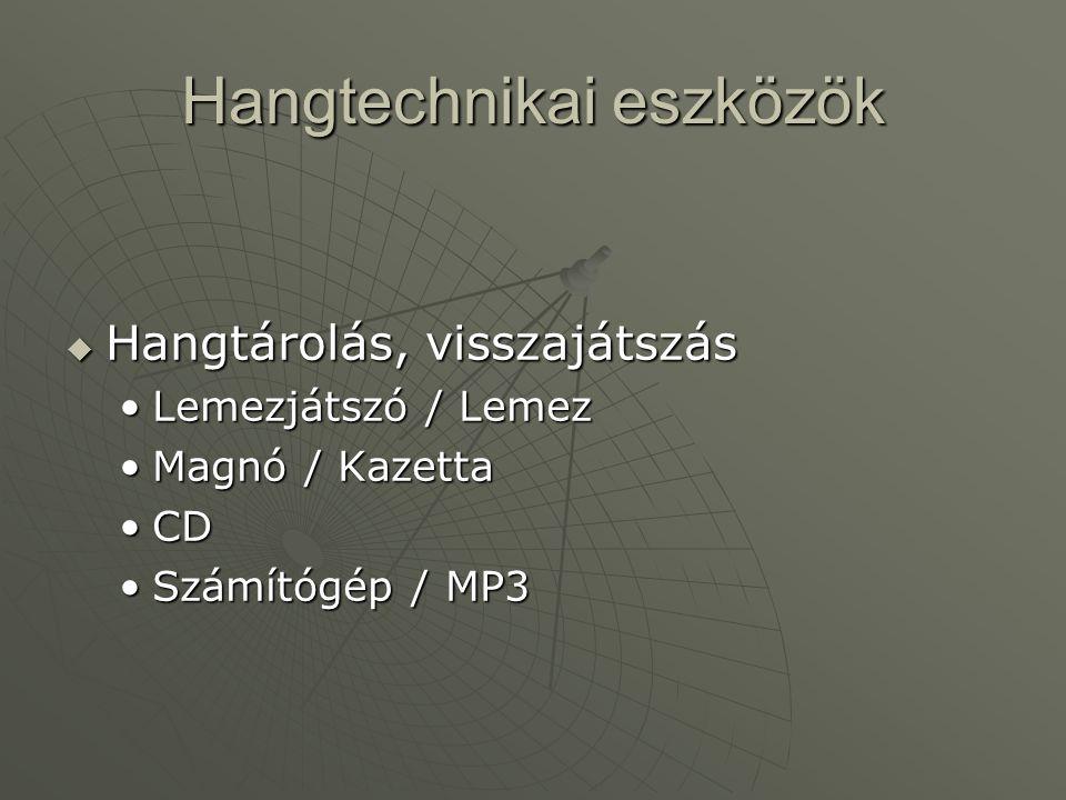 Hangtechnikai eszközök  Hangtárolás, visszajátszás •Lemezjátszó / Lemez •Magnó / Kazetta •CD •Számítógép / MP3