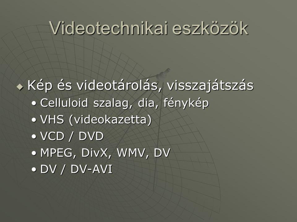 Videotechnikai eszközök  Kép és videotárolás, visszajátszás •Celluloid szalag, dia, fénykép •VHS (videokazetta) •VCD / DVD •MPEG, DivX, WMV, DV •DV /