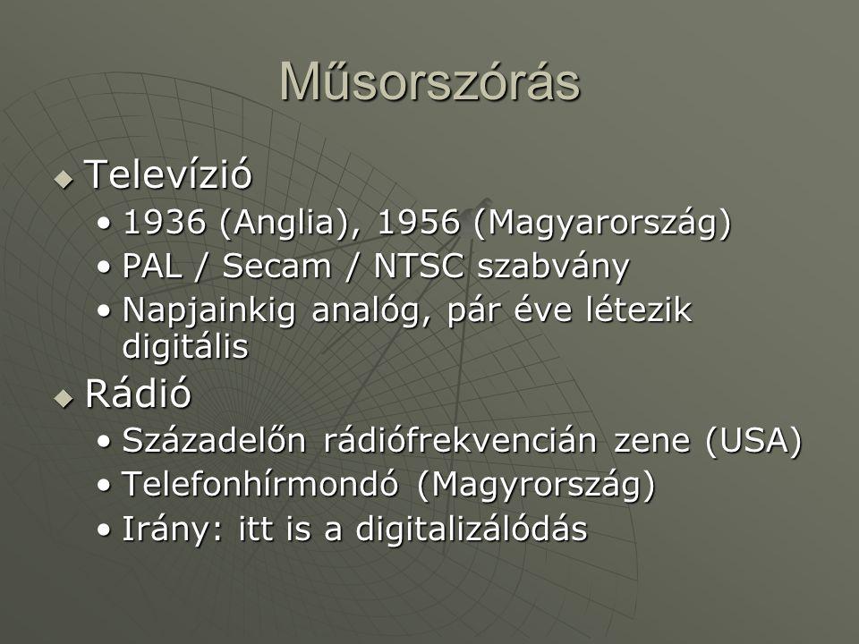 Műsorszórás  Televízió •1936 (Anglia), 1956 (Magyarország) •PAL / Secam / NTSC szabvány •Napjainkig analóg, pár éve létezik digitális  Rádió •Század